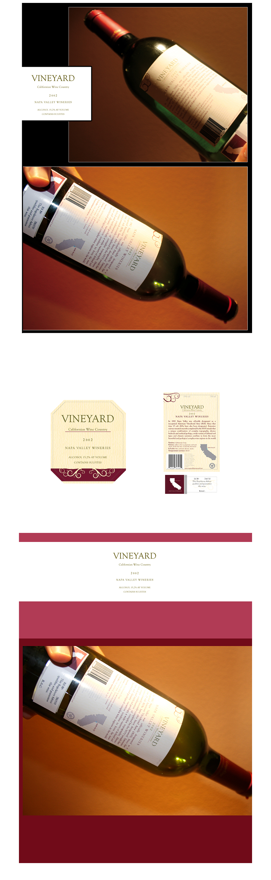 Vineyard California wines piezas